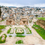 View of Jerash city from temple of artemis Stock Images