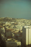 View on Jerusalem. Vintage view on Jerusalem through old glass of window Stock Photography