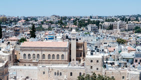 View of Jerusalem from  the Corner tower of the Evangelical Lutheran Church of the Redeemer in the old city of Jerusalem, Israel. Royalty Free Stock Photo