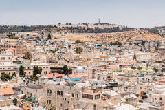 View of Jerusalem from the Corner tower of the  Evangelical Lutheran Church of the Redeemer in the old city of Jerusalem, Israel. Stock Image