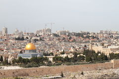 View of Jerusalem from the Mount Of Olives - Israel. View of Jerusalem and the Dome of the Rock from the Mount Of Olives - Israel Royalty Free Stock Images