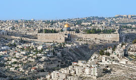 View of the Jerusalem Old City and Temple Mount, Israel. View of the Jerusalem Old City and Temple Mount with the al-Aqsa Mosque, the Dome of the Rock and the Stock Photos