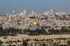 View of Jerusalem Old city and the Temple Mount, Jerusalem royalty free stock photo