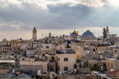 View of Jerusalem from the Old City walls in Israel Stock Images