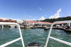 View of  Jesselton Point, Kota Kinabalu , Sabah, Malaysia. Jesselton Point is the water transportation hub to small island in Sabah and Labuan Stock Photos