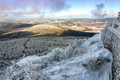 View from Jested mountain peak at winter. Liberec. Czech Republic Royalty Free Stock Photography
