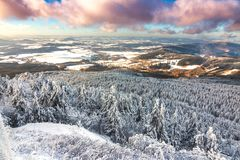 View from Jested mountain peak at winter. Liberec. Czech Republic Royalty Free Stock Photos