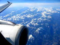 View from a jet plane. Over the Rocky Mountains Royalty Free Stock Photos