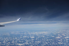 View of jet plane wing Stock Photography