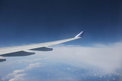 View of jet plane wing Royalty Free Stock Photography