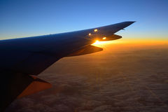 View of jet plane wing Stock Images