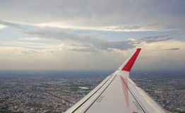 View of jet plane wing Stock Image