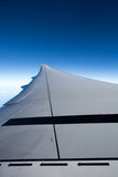 View of jet plane wing with safety markers Royalty Free Stock Photos