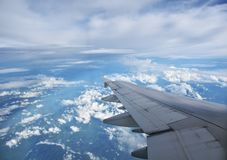 View of jet plane wing Royalty Free Stock Images