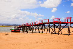 View of jetty in the El Puntal beach Stock Photo