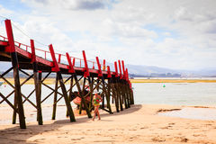 View of jetty in the El Puntal beach Stock Image