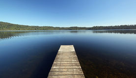 View from the jetty at a lake in New Zealand royalty free stock photography