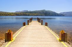 View from the jetty at Lake St Clair - Tasmania stock photography