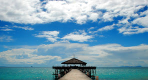 View of jetty in the turquoise waters of Tioman Island Malaysia Royalty Free Stock Photos
