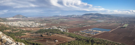 View of the Jezreel Valley, lower Galilee, Israel Stock Images