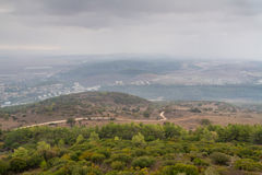 View of the Jezreel Valley in winter day from Mount Carmel, Israel Royalty Free Stock Photography
