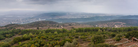 View of the Jezreel Valley in winter day from Mount Carmel, Israel Stock Photography