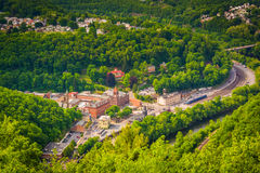 View of Jim Thorpe and the Lehigh River from Flagstaff Mountain, Pennsylvania. stock photography