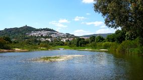 View of Jimena de la Frontera and its castle from the river, Cadiz, Spain (4K) stock video
