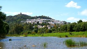 View of Jimena de la Frontera and its castle from the river, Cadiz, Spain (4K) stock footage