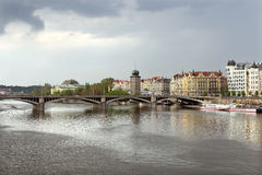 The view on Jiraskuv bridge and National Theatre Royalty Free Stock Images