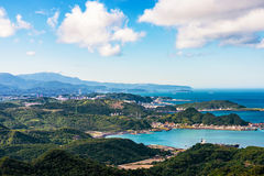 View of Jiufen hills and sea. Scenic view of Jiufen hills and sea in Taiwan stock photos