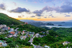 View of Jiufen town during sunset. Scenic view of Jiufen town during sunset royalty free stock photo