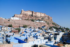 View of Jodhpur, the Blue City, and Mehrangarh Fort, Rajasthan, India. Stock Photos