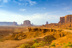 View from john fords point to giant Merrick butte. View from john fords point to the giant Merrick buttes, sandstone formations in the Monument valley royalty free stock image