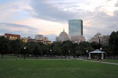 View of John Hancock Tower from Common Park stock photography