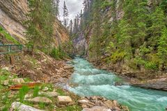View at the Johnston creek in Johnston Canyon of Banff National Park in Canadian Rocky Mountains - Canada. View at the Johnston creek in Johnston Canyon of Banff royalty free stock photo