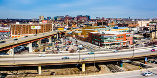 View of the Jones Falls Expressway and Orleans Street in Baltimore, Maryland. stock image