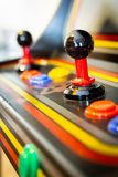 Joystick of a vintage arcade videogame - Coin-Op. A view of a joystick of a vintage arcade videogame - Coin-Op Stock Photo