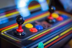 Joystick of a vintage arcade videogame - Coin-Op. A view of a Joystick of a vintage arcade videogame - Coin-Op Royalty Free Stock Photography