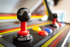 Joystick of a vintage arcade videogame - Coin-Op. A view of a joystick of a vintage arcade videogame - Coin-Op Royalty Free Stock Images