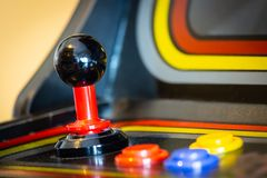 Joystick of a vintage arcade videogame - Coin-Op. A view of a joystick of a vintage arcade videogame - Coin-Op Stock Images