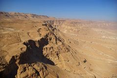 View on Judean desert from Masada fortress. View on Judean desert and Roman fortification ruins from Masada fortress, Israel stock photo