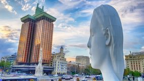 View Julia statute by Jaume Plensa. MADRID, SPAIN - APRIL 2: View Julia statute by Jaume Plensa at sunset HDR effect on April 2, 2019 in Madrid, Spain stock photos