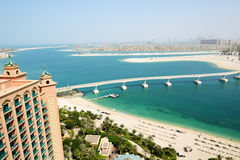 The view on Jumeirah Palm man-made island Royalty Free Stock Image
