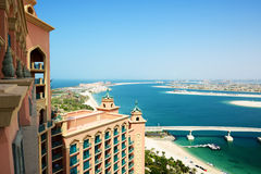 The view on Jumeirah Palm man-made island Stock Photos