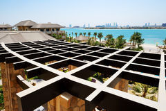 The view on Jumeirah Palm man-made island from luxury hotel Stock Image