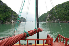 View from a junk boat in ha long bay. Northern vietnam royalty free stock photo
