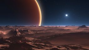 A view from Jupiter`s moon, space background. 3d illustration royalty free illustration