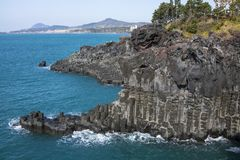 View of the Jusangjeollidae. Jusangjeolli are stone pillars piled up along the coast and is a designated cultural monument of Jeju. Island. Jusangjeolli Cliff royalty free stock photo