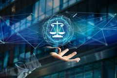 Justice balance icon on a futuristic interface Stock Image